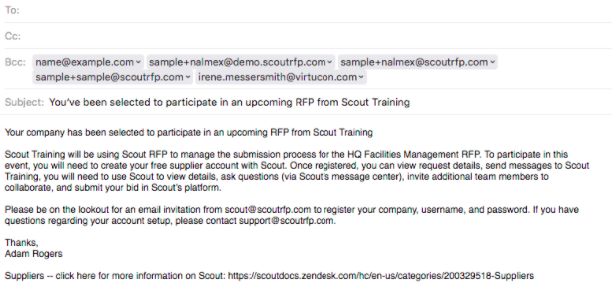 Send Introductory Email to Suppliers Scout RFP