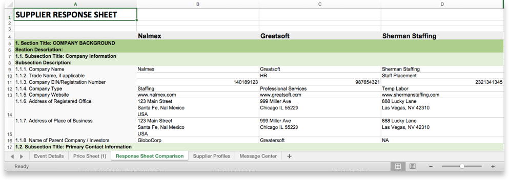 Compare Export Bid Submissions To Excel Scout Rfp